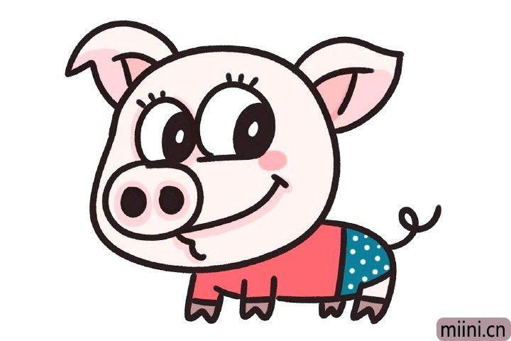 9.装饰上眼睫毛,调整一下细节,给小猪画上自己喜欢的衣服。