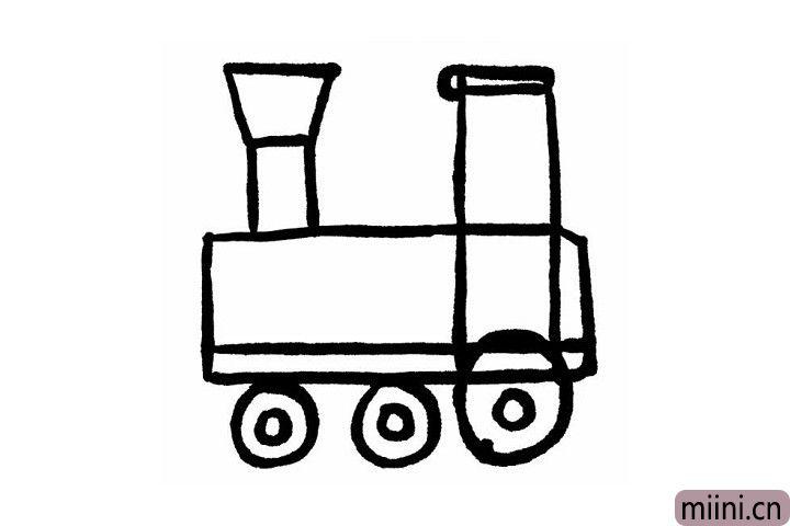 4.火车的车轮就很好画啦!先画两个大圆,里面在画两个小圆就完成了哦!