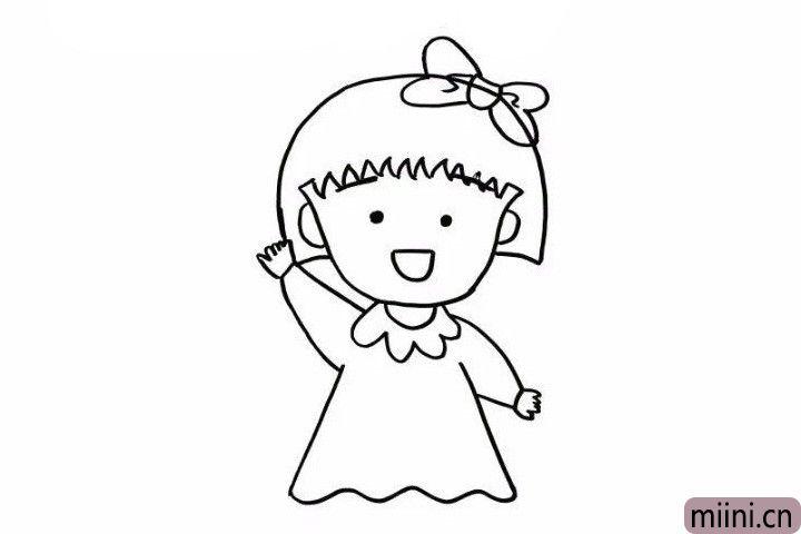 6.然后在身子的两侧画出她的手臂和小手左边朝下右手朝上,看!萌萌的小丸子在向我们招手!