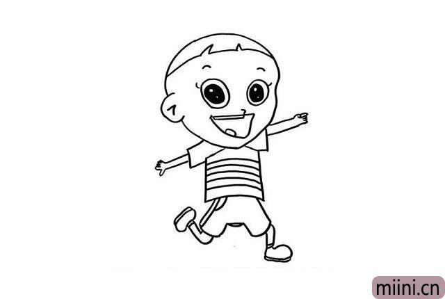 """6.现在我们要画出大头儿子的下肢了哦!我们可以先画出他的短裤,随后画出大头儿子奔跑的""""大长腿""""就好了哦!"""