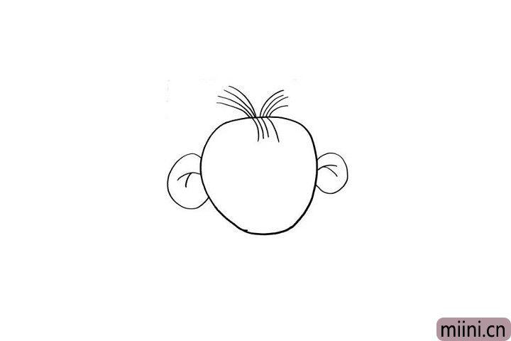 """2.图图有一个小技能是""""动耳神功""""哦!大大的耳朵,几根调皮的小头发一画,图图的形象是不是跃然纸上了呢?"""