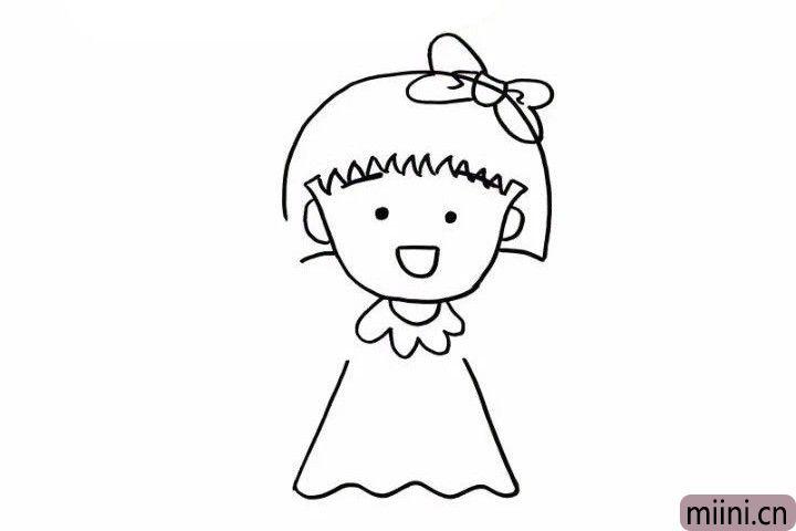 5.萌萌的小丸子有了可爱的领结,下边就是给她穿上一件漂亮的裙子,注意线条的变化!