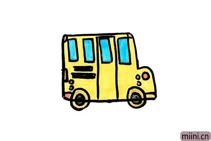 接送同学们上下学的校车简笔画步骤教程