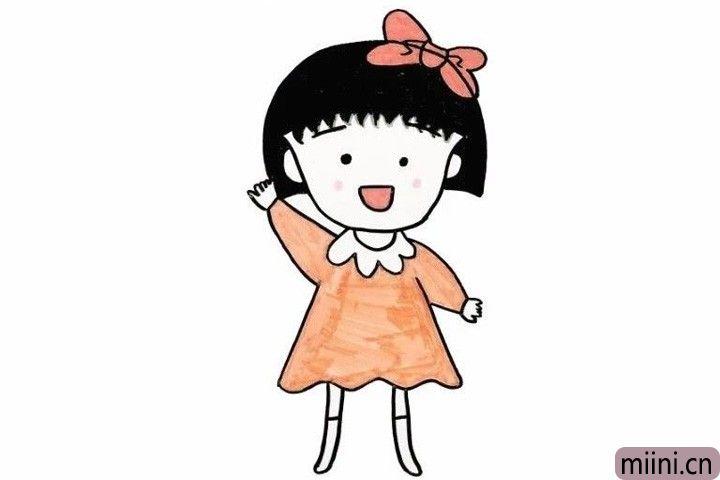 8.最后我们给画好的樱桃小丸子涂上黑黑的发,粉色的脸颊,红色的蝴蝶结和橙色的裙子,可爱漂亮的樱桃下丸子就完成啦!