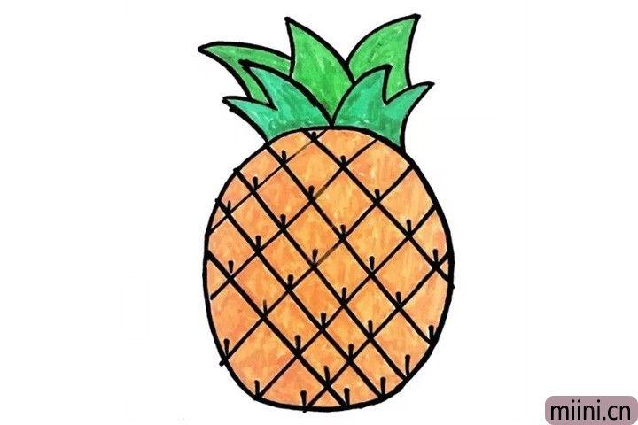 6.又到了小可爱们期待的涂色时间啦!快拿起手中的小彩笔给菠萝穿上美丽的新衣吧!