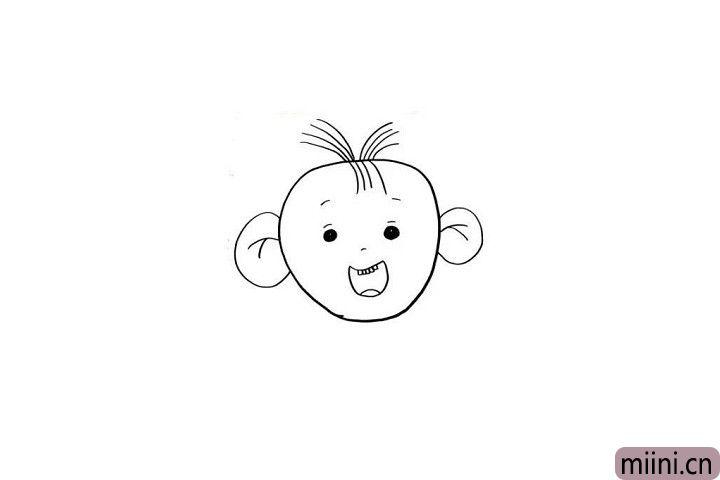 3.图图的眉毛和大眼睛很好画哦!我们可以画一个笑的特别开心,还露出几颗小牙齿的图图哦!