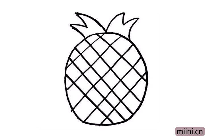 3.现在我们画出菠萝的第一层绿叶吧!在菠萝身体的上方随意的用弧线表示出来就好了哦 !