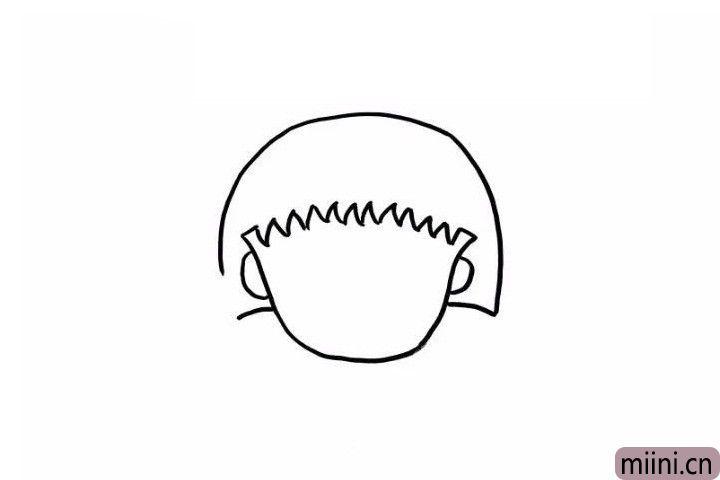 2.下边这步很简单啦,画一个半圆作为小丸子的头发,现在可爱的小丸子的头部轮廓就完成啦。