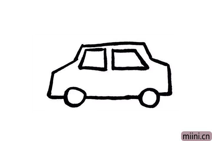 4.很多小朋友做坐租车时都喜欢看窗户外面!那么咱们一起画出出租车的窗户吧!