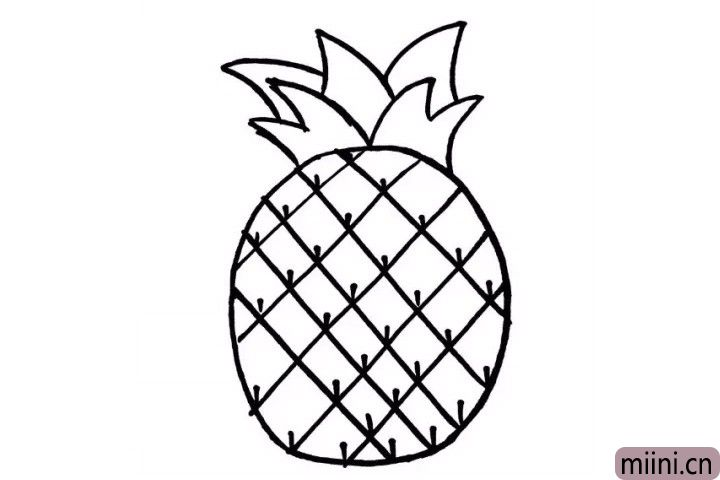 5.小可爱有没有被菠萝身上的小刺扎到过呢?现在我们一起画出菠萝身上小刺吧!