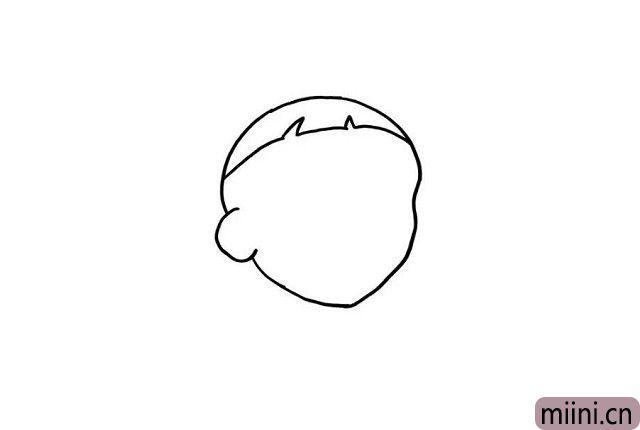 2.有了大头儿子的头部轮廓,我们可以再画出大头儿子的可爱的小头发哦!这样看起来是不是有一点调皮呢?