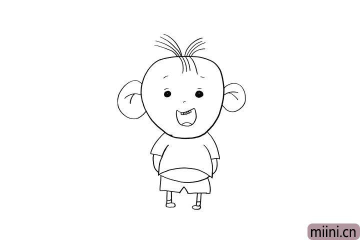 5.小手背背后的图图显得顽皮又可爱!小朋友现在画出图图的小胳膊吧!