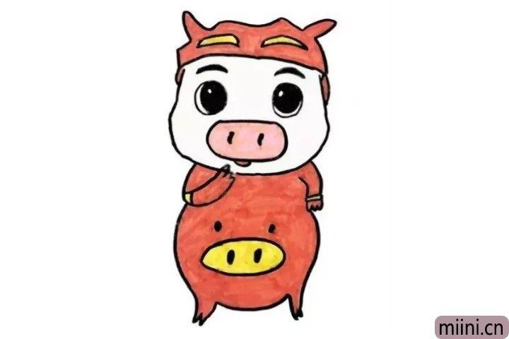 6.又到了小朋友们期待的涂色时间啦!快给猪猪侠涂上你喜欢的颜色吧!和小朋友比一比,看谁的猪猪侠更加可爱呢?