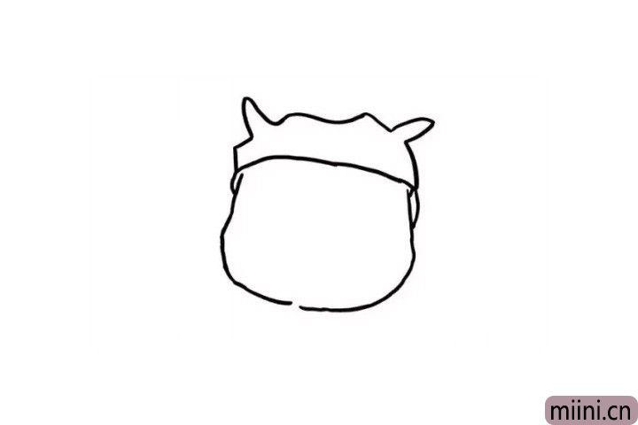 2.胖胖的猪猪侠的脸也是胖胖的哦!这一步很简单啦,我们用一个圆形表示一下就好啦!