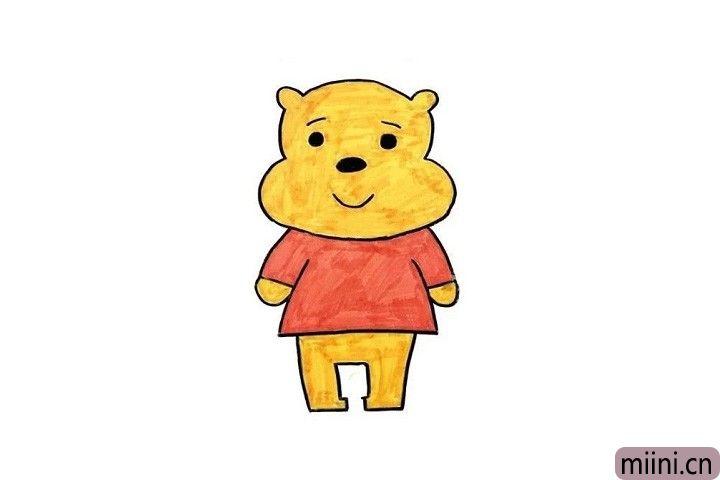 微笑的维尼熊简笔画步骤教程