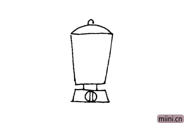 第四步:上面画上半个椭圆形,再加上一个小圆形作为盖子。
