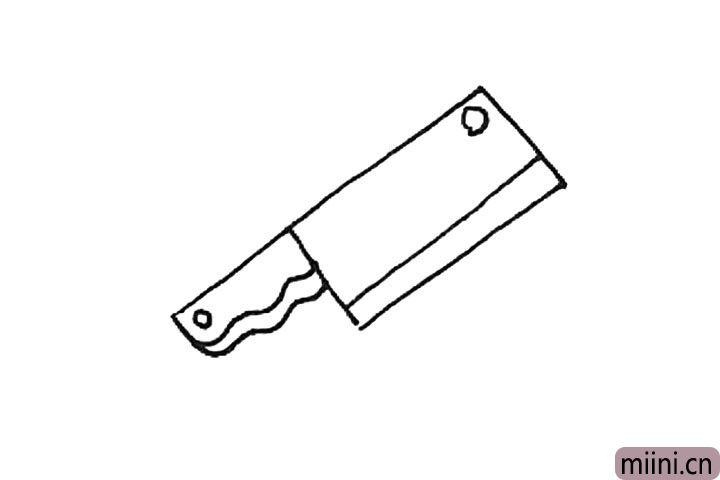 第五步:刀面上加上一个圆形的装饰,并画上一条斜线作为刀刃。