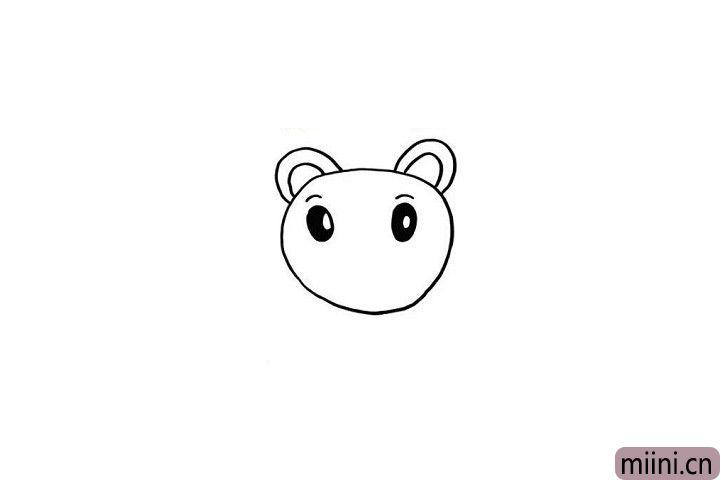 3.巧虎的小眉毛和大眼睛就比较简单啦!两条小小的弧线就是他的小眉毛哦!眼睛用圆形表示出来就可以啦!