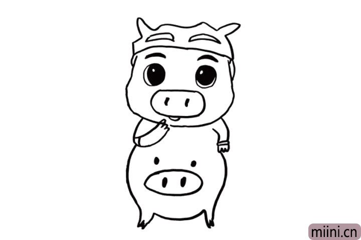5.胖胖的猪猪侠肚子十分可爱哦!我们用曲线画出来就好啦!我们可以在猪猪侠的肚子上任意画出一点装饰,看起来是不是就像给猪猪侠穿上了好看的衣服呢?