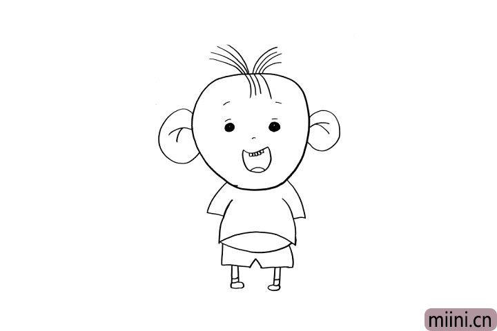 4.现在我们画出图图的衣服和大长腿吧!小朋友们是不是已经画好了呢?