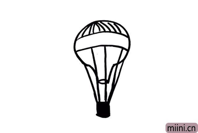 5.顺着热气球的结构画一些线条,可以使热气球的形象更加丰满哦~