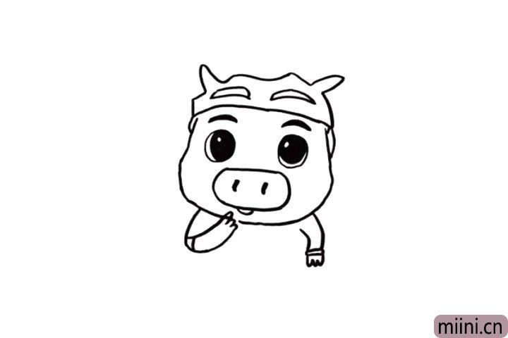 4.猪猪侠的鼻子是特别个性的哦!用椭圆表示一下就好啦!如果在鼻子上画出鼻孔,是不是更加惟妙惟肖啦?小朋友们不要忘记画出猪猪侠的小胳膊和小手哦!