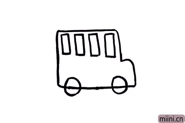 3.车轮的画法也十分简单哦,用圆形表示一下就好啦!