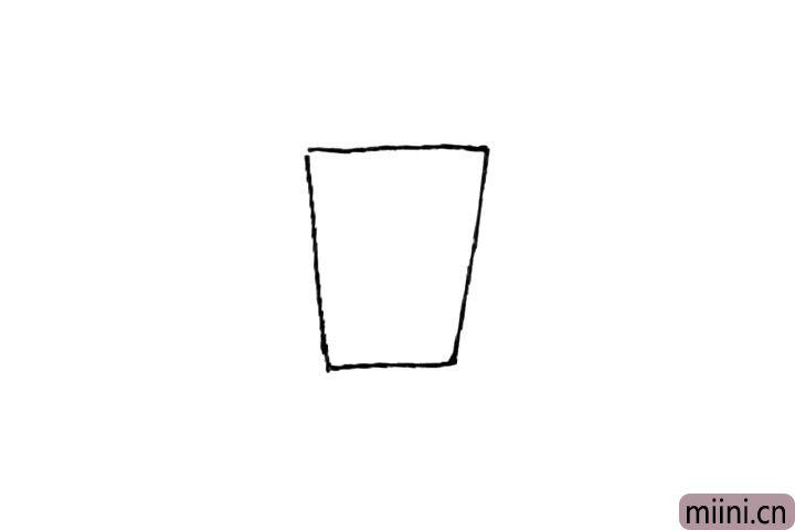 第一步:先画上一个倒梯形。
