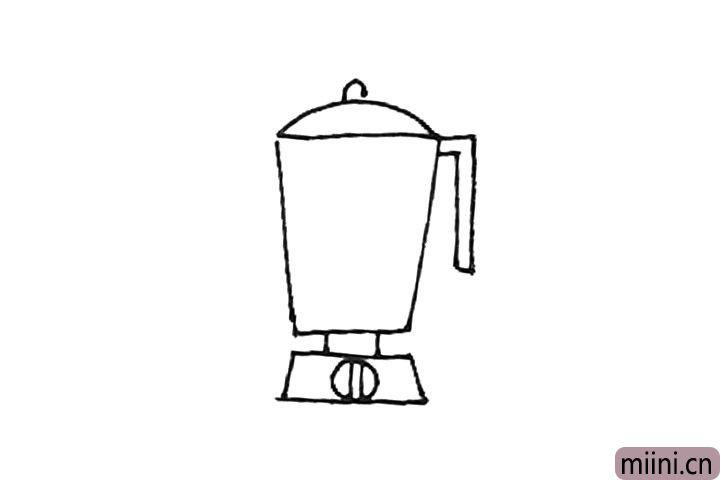 第五步:右边,画上两个直角线连接起来形成把手。
