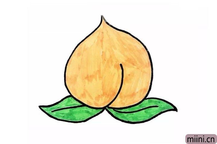 5.最后我们给好看又美味的桃子果实涂上黄色,叶子涂上绿色。看!好吃又好画的桃子就完成啦!