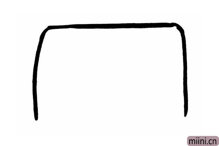 1.第一步还是那么的简单!先画一个大大的长方形,注意底部不要封口哦!是不是很好奇象妈这一步画的是公交车的哪个部位呢?别着急,接着往下看.....