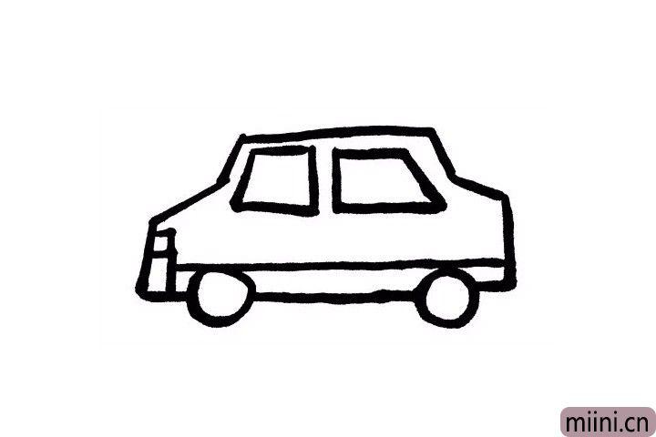 6.我们在车轮的上面画一条直线,左侧与刚才画好的车灯连接起来,右侧与车尾连接起来!现在的出租车看起来是不是更加立体了呢?