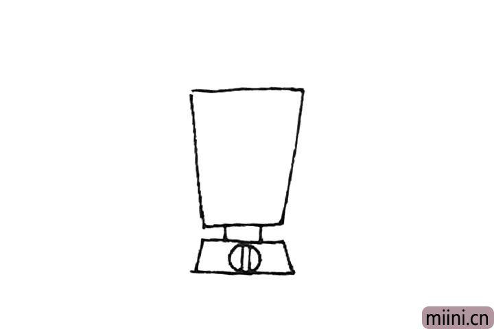 第三步:中间画上两条线连接起来,下面再画上一个圆形,中间画上竖线作为开关。
