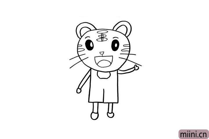 7.穿着背带裤的巧虎是不是特别时尚呢?小朋友们可千万不要忘记画出巧虎的大长腿和小脚丫哦!