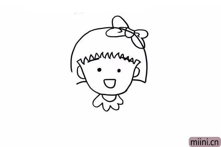 4.下面这步更简单,就是画上萌萌的小丸子的脖子和花朵一样可爱的的小领结。