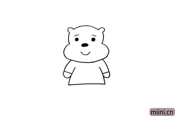 3.长得胖胖的维尼很受小朋友们的喜欢呢!我们一起画出小熊维尼的小胳膊和大肚子吧!