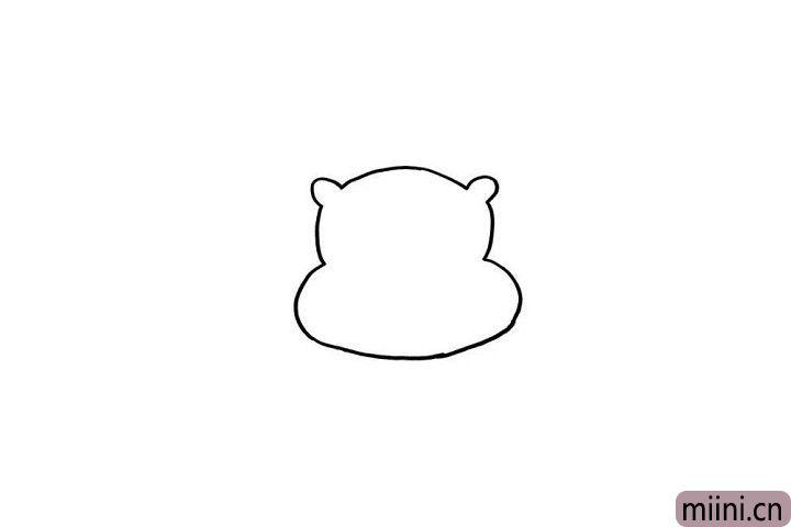 1.可耐的小朋友,咱们一起画出小熊维尼的头部轮廓吧!小朋友们都知道维尼喜欢吃蜂蜜,这个头部轮廓是不是还有一丢丢像装蜂蜜的罐子呢?