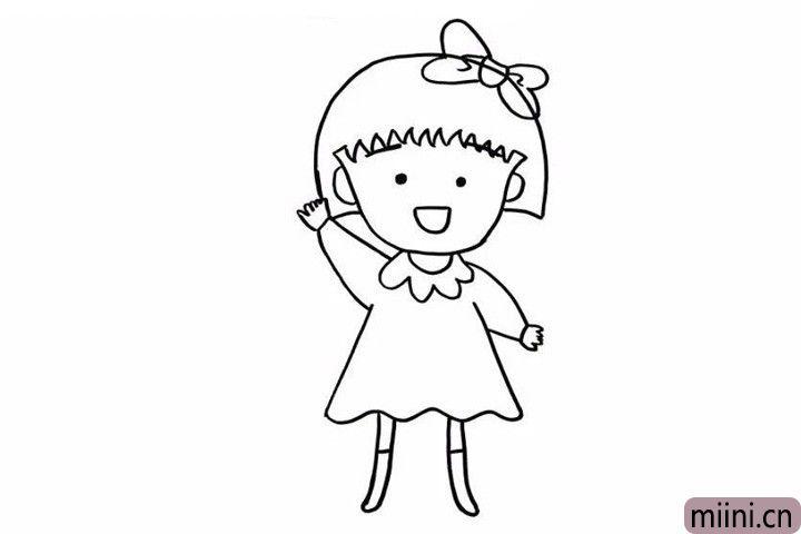 7.再把她的两条腿和鞋子也都给勾勒出来,又萌又可爱的小丸子的线稿就画出来啦!期待我们下一步给小丸子涂上漂亮的颜色吧!