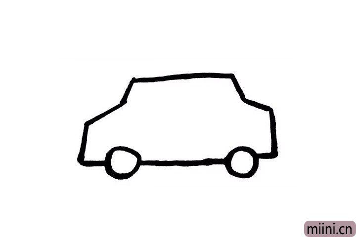 3.出租车是有四个车轮哦!由于角度原因,现在我们只需要画出两个哦~