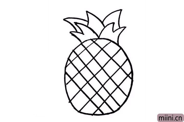 4.有了菠萝第一层绿叶作为铺垫,画第二层、第三层绿叶画起来是不是就十分轻松了呢?