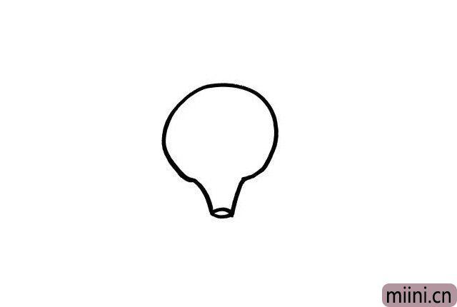 1.小朋友们在电视上都见过热气球吧?对它的外形轮廓是不是都比较熟悉呢?我们一起画出热气球的外部轮廓吧!