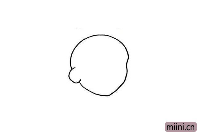 1.小朋友知道大头儿子的特点是什么吗?名如其人哦,就是有一只聪明的大脑袋哦!我们在画板上画出大头儿子的大脑袋吧!