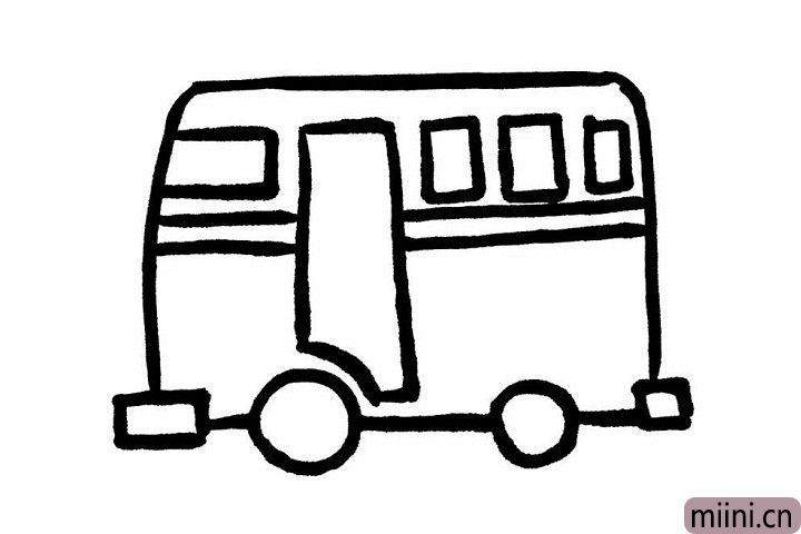 4.下面我们来给公交车画上车窗,在画车窗前,我们先在公交车车身的中间部分画两条平行线,方便区分车窗和车身哦!横线上边横竖大小不一的一排长方形就是公交车的一排车窗啦!