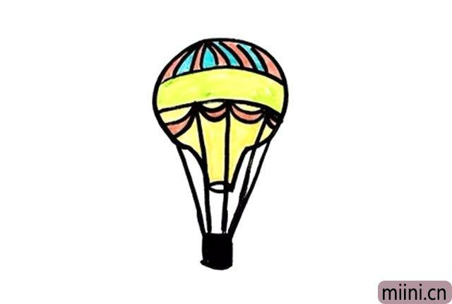 缓缓上升的热气球简笔画步骤教程