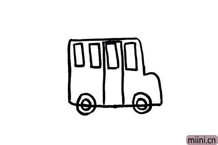 4.现在我们丰富一下校车的车轮吧,这样会更加形象一点哦!再画出校车的车门,这样小朋友们上下车就会十分方便了呢!