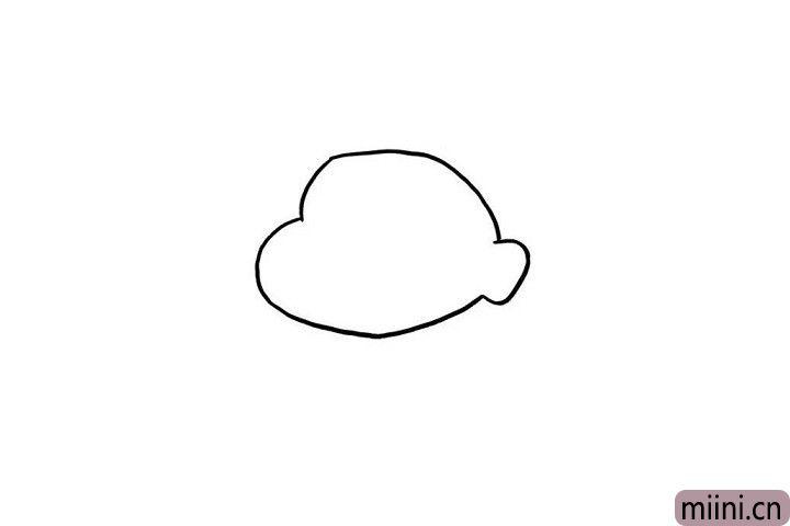 1.天真可爱的蜡笔小新模样小朋友们是不是知道得很清楚呢?我们先画出他脑袋和耳朵的轮廓吧!