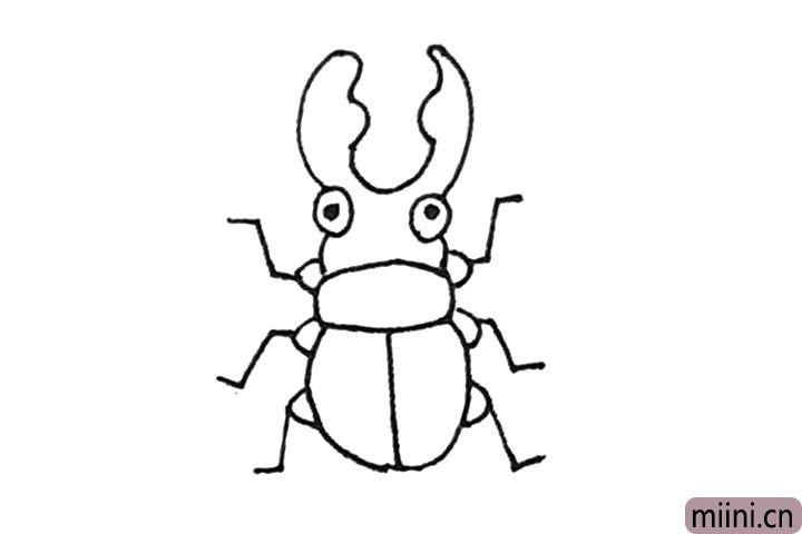 第六步:再用折线,画出甲壳虫的腿,注意细节,还要点上甲壳虫的眼睛。