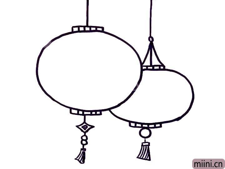 4.接着在画上里面的装饰,以及灯笼下面的吊饰。
