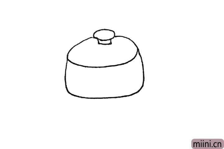 第三步:下面,再画上一个偏方的弧线作为锅的下半部分。