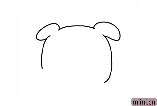 1.首先画出小猪的脑袋和耳朵。